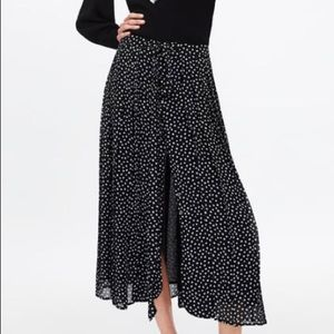 Zara pleated polka dots midi skirt